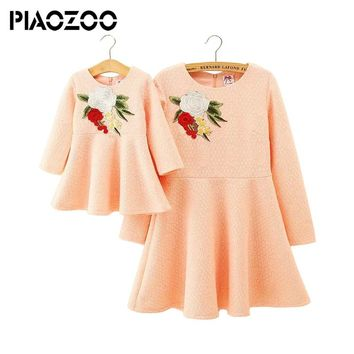 Family Matching Clothes mother daughter dress mommy and me Long Sleeve embroided outfits family look big sister outfitP25