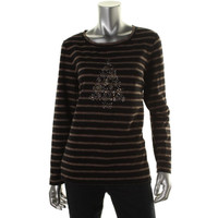 Karen Scott Womens Striped Embellished Casual Top
