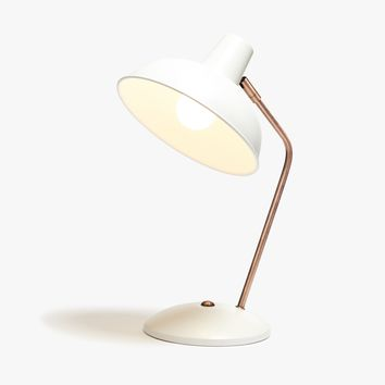 White and Rose Gold Task Lamp