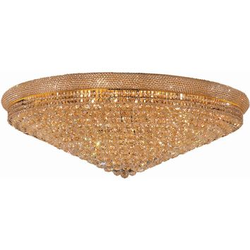 "Primo 48"" Diam Flush-Mount Light, Gold Finish, Clear Crystal, Elegant Cut"