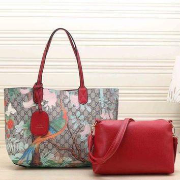 Gucci Women Leather Multicolor Tote Handbag Shoulder Bag Set Two Piece H 8-15