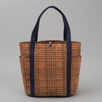 KAKISHIBU DYED COTTON OXFORD HEAVY DUTY TOTE BAG, HAND-DRAWN CHECK :: HICKOREE'S