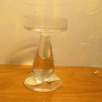 clear glass pedestal tea light candle holder