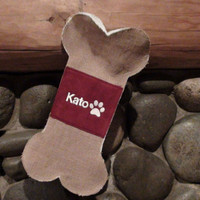 Monogrammed Burlap Dog Bone Christmas Stocking with Paw Print in Red and White