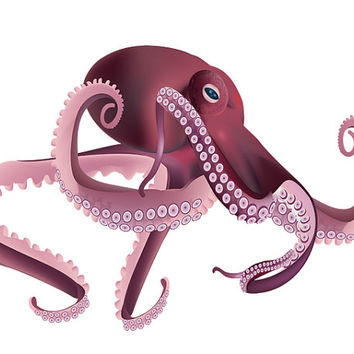 Water Baby Image, Magenta Squid Cutout, Magenta Octopus Image, Fish Template,Large Poster,Wall Décor, Kids Room, Nursery Room, Nursery Décor