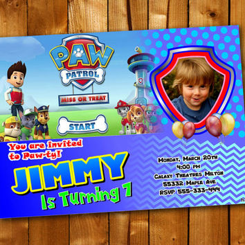 Paw Patrol, Birthday Invitation, Birthday Party for little boy and little girl