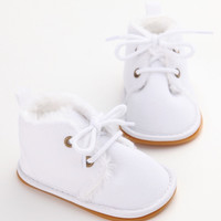 Faux Fur Oxfords-White