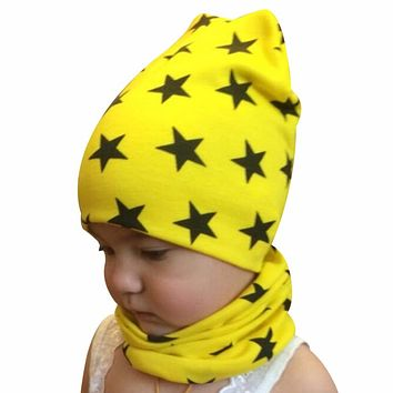 Autumn winter Knit Hats Crochet Scarves Hat Girl Boy Cap Kids Beanie Stars Hat Cotton Children Collar Scarf baby cap child cap