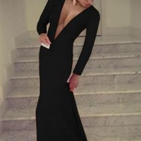 Black Plunge V Long Sleeve Evening Dress