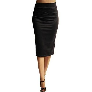 Women skirts 2017 summer new fahsion Elastic Fold Band High Waist mid-calf length Plus Size Maxi Long Midi Pencil Skirt 6xl