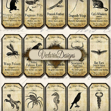 INSTANT DOWNLOAD Magic Animals Apothecary Bottle Labels Jar Labels Tags Halloween printable  images digital collage sheet 094