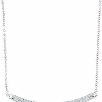 10kt White Gold Women's Round Diamond Curved Horizontal Bar Pendant Necklace 1-4 Cttw - FREE Shipping (US/CAN)