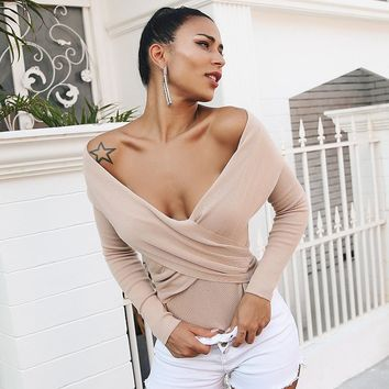 Glamaker Off shoulder criss cross knitting sweater Women casual long sleeve jumper Female party winter pullover femme