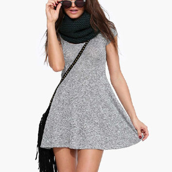 Grey Short-Sleeve Knit Mini Dress