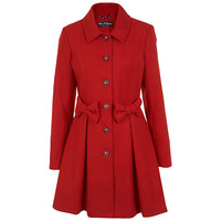 Buy Miss Selfridge Bow Detail Coat, Red online at John Lewis