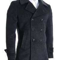 FLATSEVEN Mens Designer Double Breasted Winter Coat Wool Blends