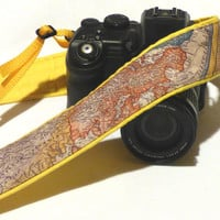 Map Camera Strap. Padded Camera Strap. Camera Accessories.  DSLR Camera Strap. Gift for Photographer. Yellow Camera Strap.