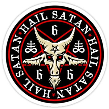 Occult Hail Satan Baphomet in Pentagram Satanic Stickers. Vinyl decals. Satanic cross 666 goth pagan satanism decoration.