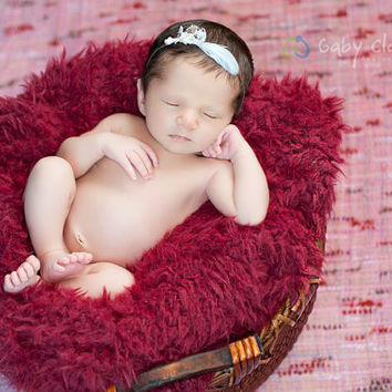 Newborn Lace Pearls and Feather Headband by PetuniaandIvy on Etsy