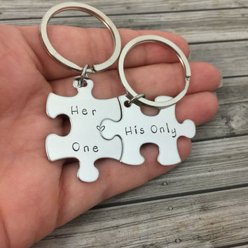 Boyfriend Gift, Couples Keychains, Her One His Only Puzzle Keychains