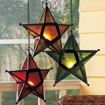 Hanging Star Candle Holder 5 Pointed Stained Glass Look Red Green Gold