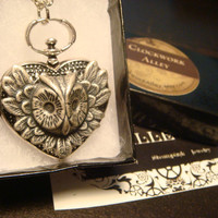 Victorian Style Owl Heart Pocket Watch LOCKET Steampunk Pendant Necklace (1646)