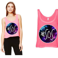 5 Seconds of Summer ,5SOS boxy tank top Inspired.Australian rockband Calum Luke Michael Ashton,1D One Direction.Galaxy a/w 5SOS shirt tshirt
