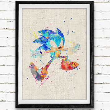 Sonic the Hedgehog Watercolor Print, Games Baby Boy Nursery Decor, Wall Art, Home Decor, Gift Idea, Not Framed, Buy 2 Get 1 Free!