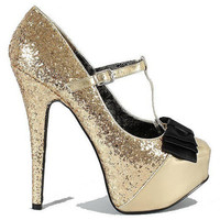 Lollipop-22 Black Silver Gold Glitter Pump Mary Jane Stilettos - Cutesy Originals