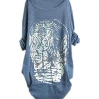Blue Batwing Sleeves T-Shirt in Fingerprint Tie Dye