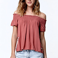 LA Hearts Embroidered Smocked Off-The-Shoulder Top at PacSun.com