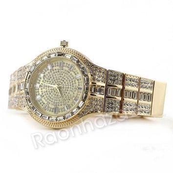 LMFA8C Iced Out 14K Gold Square Stone Bling Watch Set 51