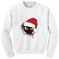 H330 Winter Warm Women Hoodie Christmas Cartoon  Print White Sweatshirt Plus Size