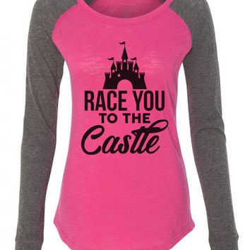 "Womens ""Race You To The Castle"" Long Sleeve Elbow Patch Contrast Shirt"