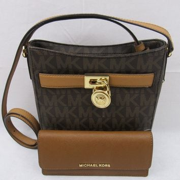 NWT Michael Kors Hamilton Brown PVC MK Messenger Crossbody Bag+ Kors Flat Wallet