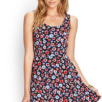 FOREVER 21 Floral Fit & Flare Dress Black/Red Large