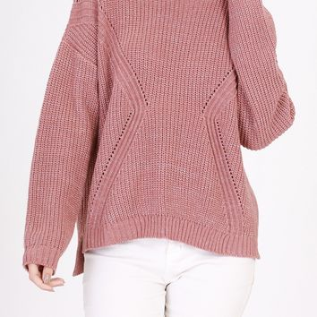 Dusty Pink Marled Knit Sweater