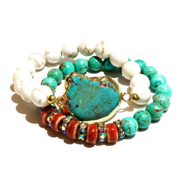 Turquoise Gypsy Boho Stacking Set-Stretch- You get both bracelets with this listing.