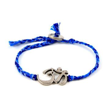 Multi Blue Friendship Silk Bracelet with Om Symbol Charm