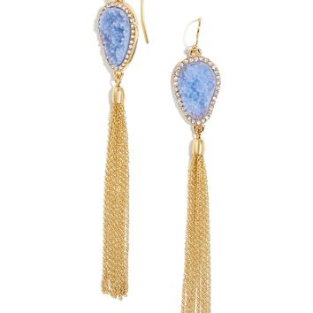 Starfire Druzy Tassel Earrings
