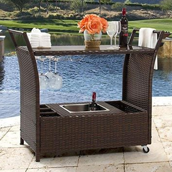 Best Choice Products Outdoor Patio Wicker Serving Bar Cart W/ Ice Bucket, Wine Rack- Brown