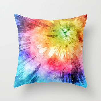 Tie Dye Watercolor Throw Pillow by Phil Perkins