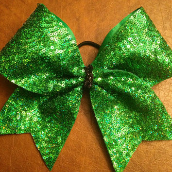 Cheer Bow - Green Sequin