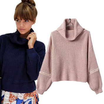 Fashion zipper high collar knit sweater