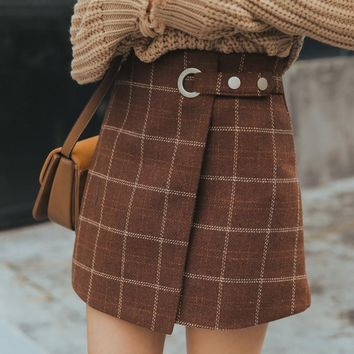 Autumn And Winter Thickened Woolen Plaid Retro Mini Skirt
