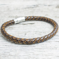 Brown braided leather bracelet with magnetic clasp, mens bracelet, womens bracelet