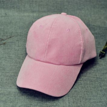 Pink Solid Baseball cotton cap Hat