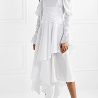 Loewe - Cutout ruffled cotton and linen-blend maxi dress