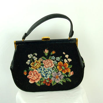 1940s needlepoint handbag, Large needlepoint purse, wool tweed, floral needlepoint bag, Eric Handbags New york
