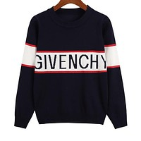 GIVENCHY Newest Popular Women Casual Jacquard Knit Long Sleeve Round Collar Thin Sweater Top Sweatshirt Black